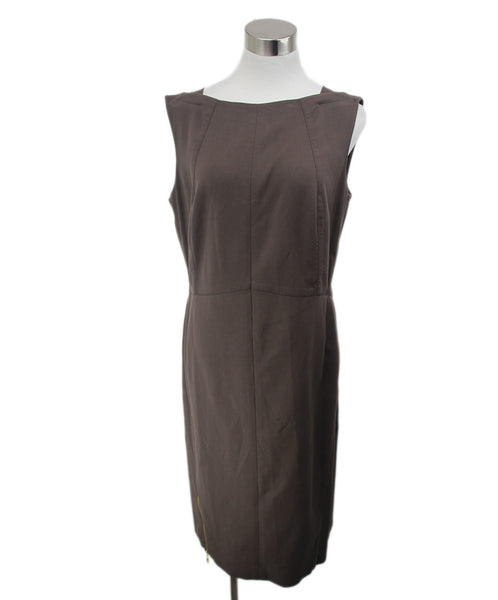 Escada Brown Rayon Zipper Trim Dress 1