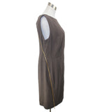 Escada Brown Rayon Zipper Trim Dress 2