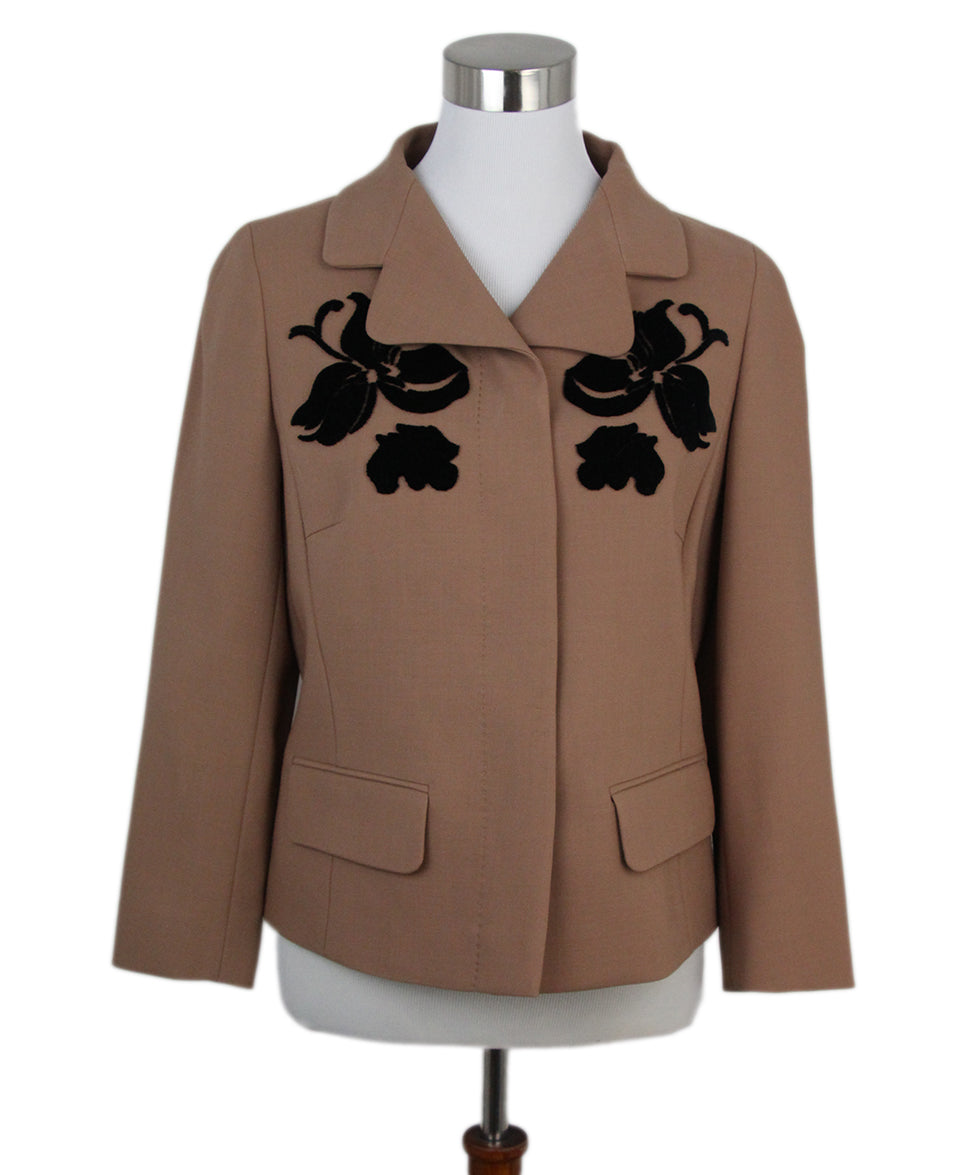Escada Caramel Black Velvet embroidery jacket 1