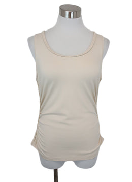 Escada Neutral Beige Cotton Top with Braided Trim Detail 1