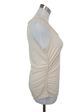 Escada Neutral Beige Cotton Top with Braided Trim Detail 2