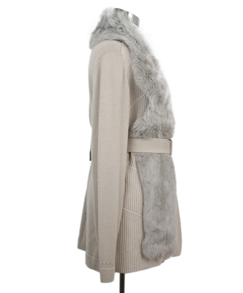 Escada Neutral Fur Collar Cashmere Silk Cardigan 2