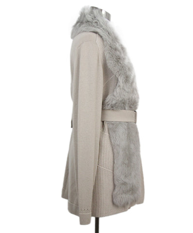 Escada Neutral Fur Collar Cashmere Silk Cardigan 1