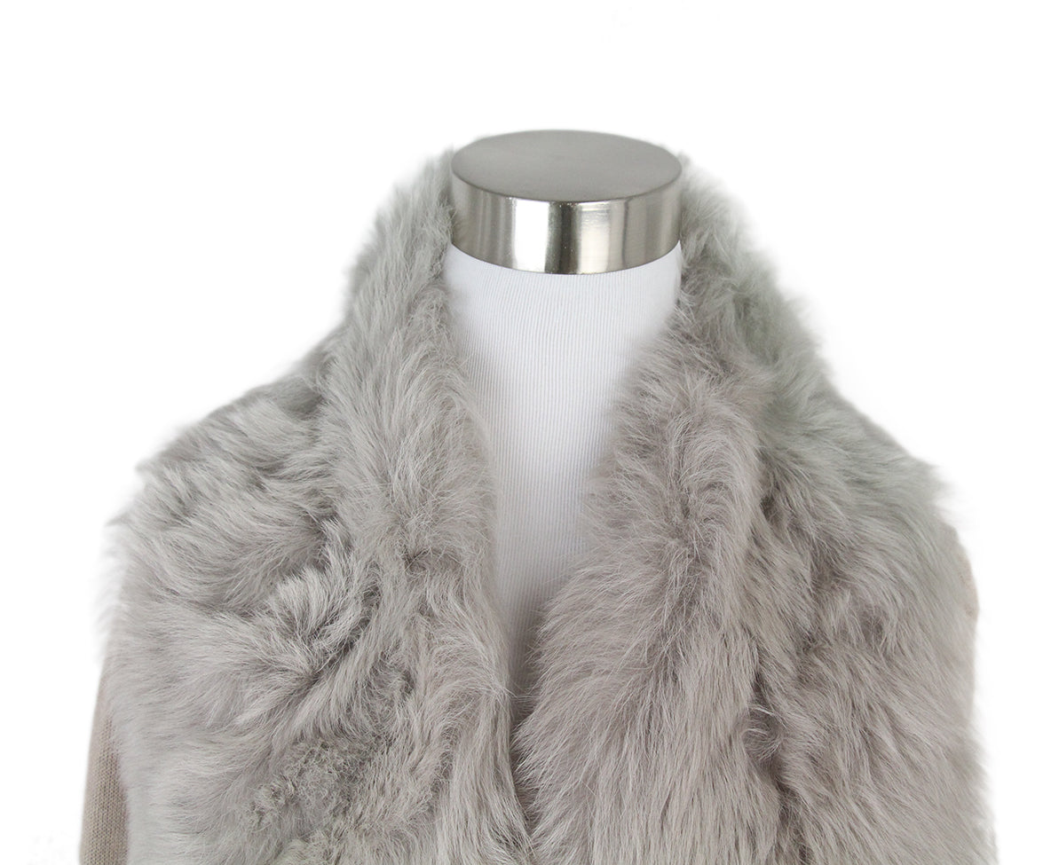 Escada Neutral Fur Collar Cashmere Silk Cardigan 6