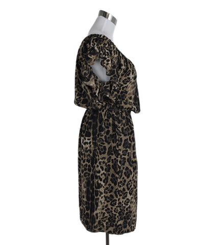 Escada Black Brown Leopard Print Silk Dress 1
