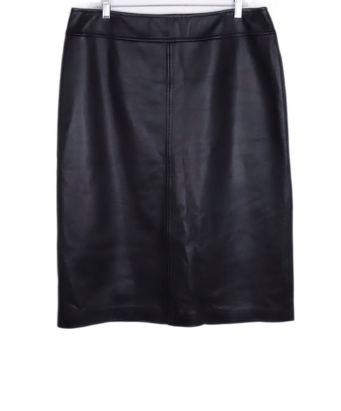 Escada Black Leather Skirt 1