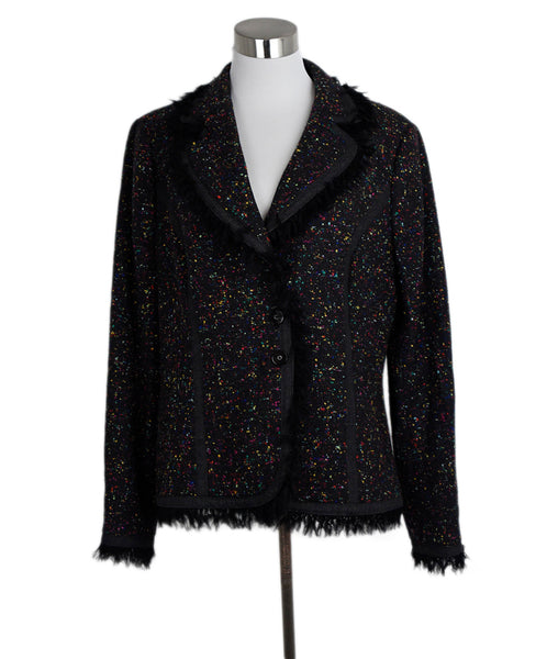 Escada Black Rainbow Tweed Wool Jacket 1