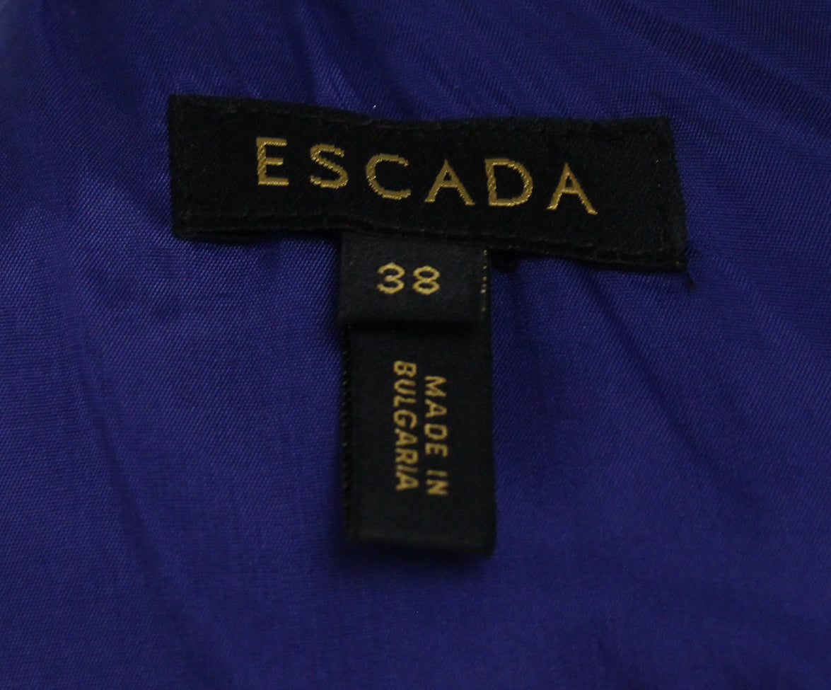 Escada blue black beaded trim dress 4