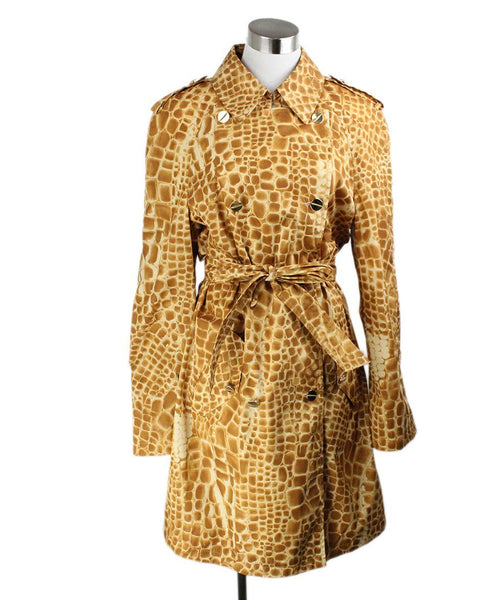 Escada Brown Amber Print Nylon Trenchcoat Sz 10