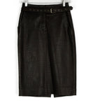 Escada Brown Pressed Leather Skirt 1