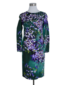 Escada Size 2 Green Purple Floral Wool Dress 1