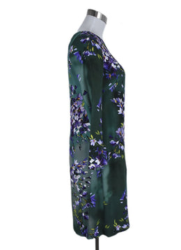 Escada Size 2 Green Purple Floral Wool Dress 2