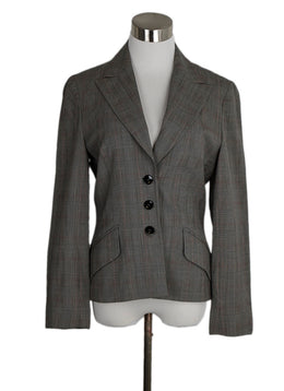 Escada Grey Red Plaid Wool Jacket 1