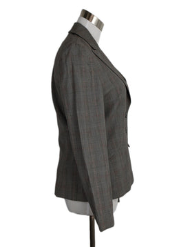Escada Grey Red Plaid Wool Jacket 2