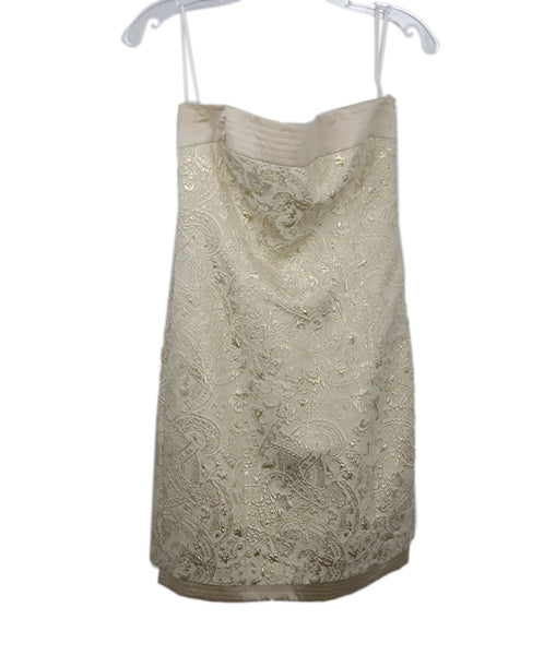 Escada Metallic Gold Ivory Damask Wool Satin Dress 1