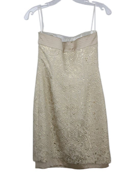 Escada Metallic Gold Ivory Damask Wool Satin Dress 2