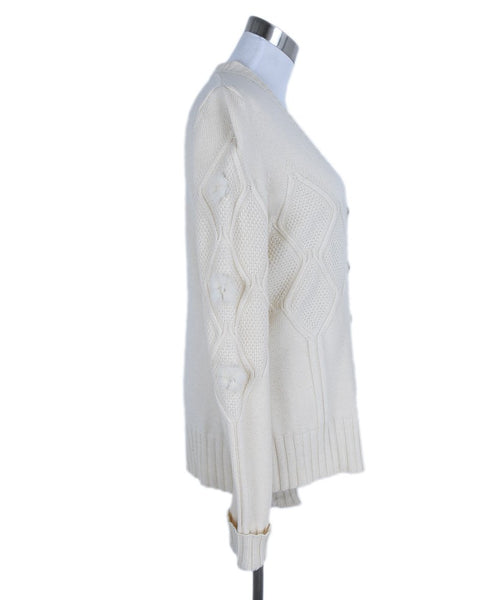 Sweater St Escada Size 6 Neutral Ivory Cashmere Wool Mink Drops Sweater 2