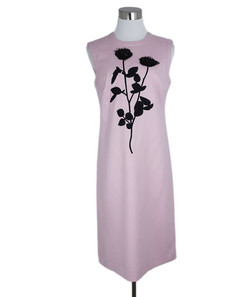 Escada Pink Wool Black Floral Sequins Dress 1
