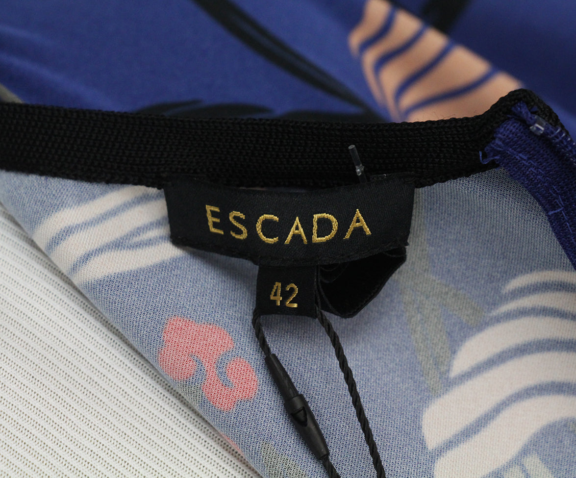 Escada purple black pink print blouse 4