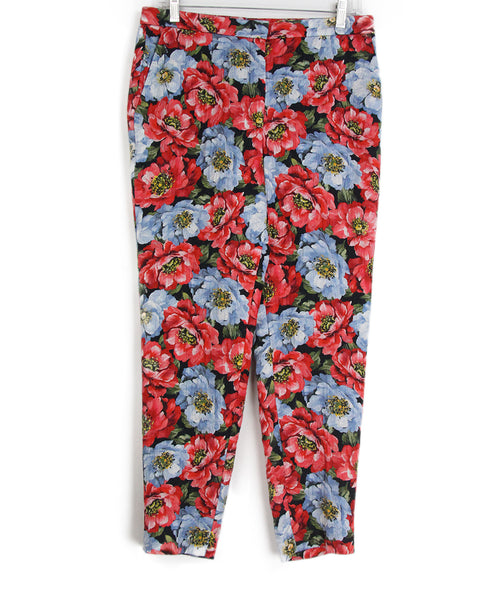 Escada red blue floral pants 1