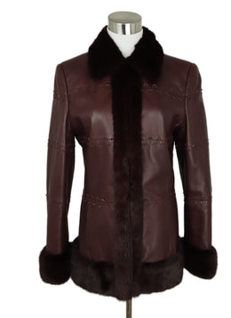Coat Escada Size 4 Red Burgundy Leather Mink Trim Outerwear 1