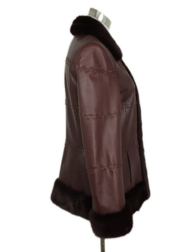 Coat Escada Size 4 Red Burgundy Leather Mink Trim Outerwear 2