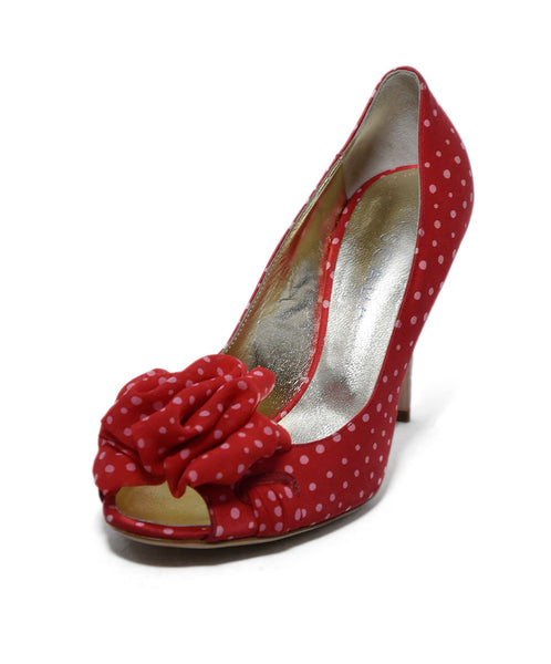 Escada Red Satin Chiffon Polka Dot Heels 1