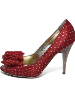 Escada Red Satin Chiffon Polka Dot Heels 2