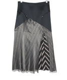 Esteban Cortazar Black Satin Skirt with Stripes 1