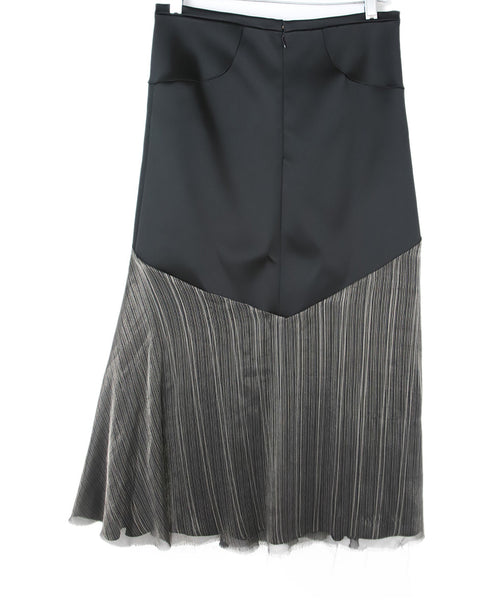 Esteban Cortazar Black Satin Skirt with Stripes 2