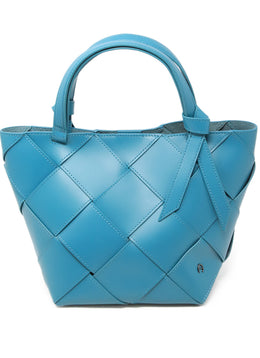 Etienne Aigner Teal Leather Woven Handbag 1