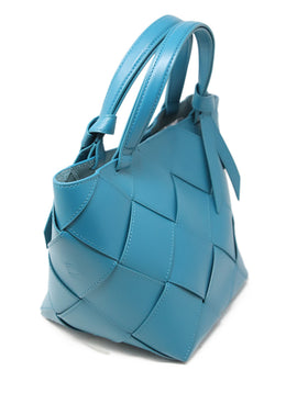 Etienne Aigner Teal Leather Woven Handbag  2