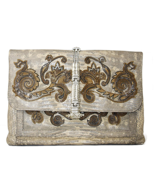 Etro Beige Lizard Gold Chain Handbag