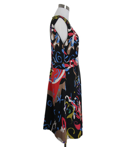 Etro Black Blue Brown Multi Sleeveless Dress 1