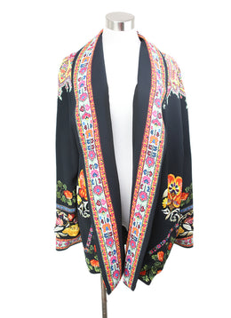 Etro Black Blazer with Yellow Fuschia Floral Print 1