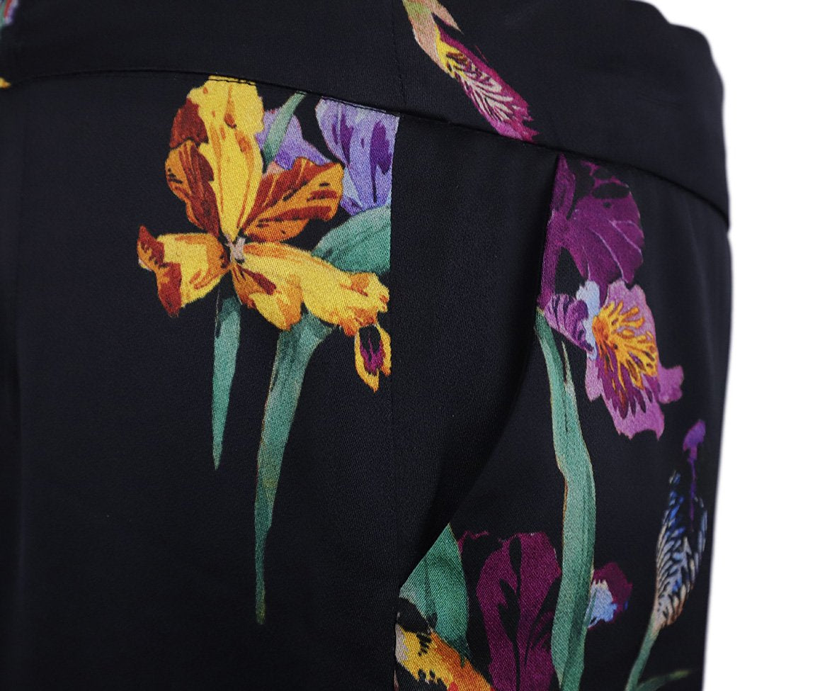 Etro Black Purple Green Floral Silk Pants 8