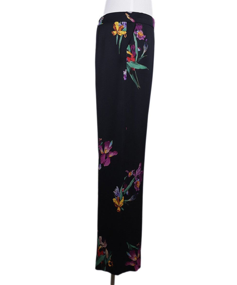 Etro Black Purple Green Floral Silk Pants 3
