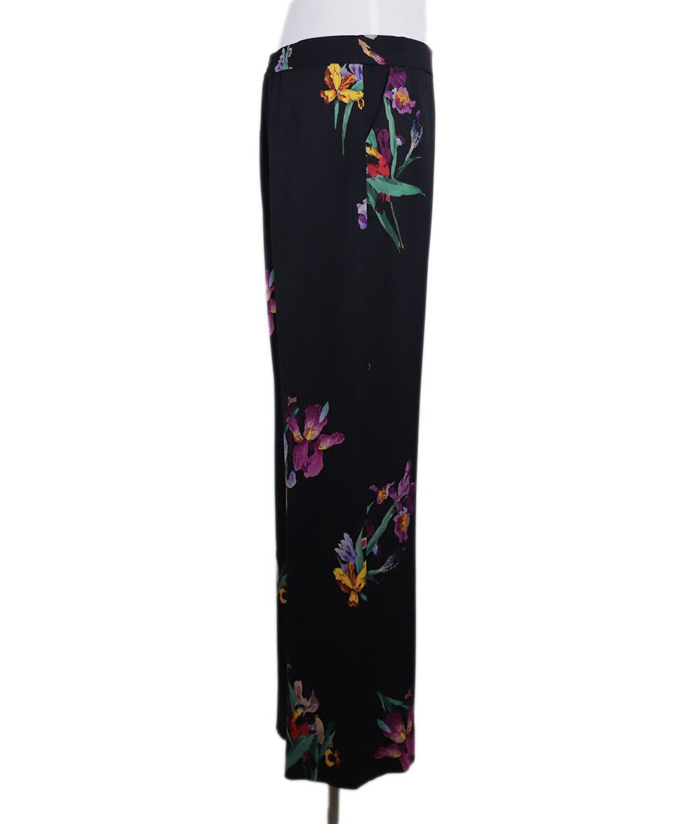 Etro Black Purple Green Floral Silk Pants 1