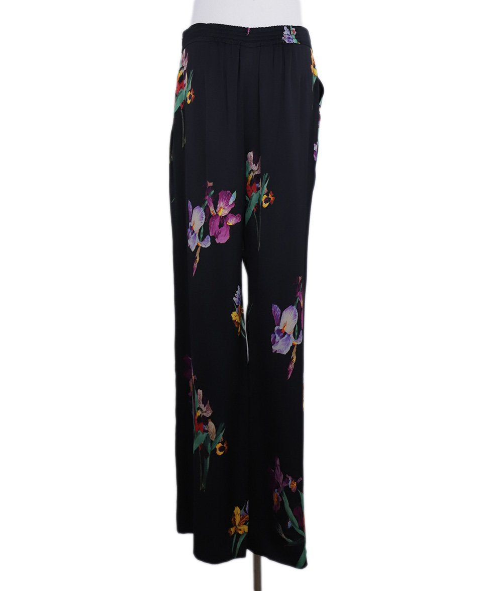Etro Black Purple Green Floral Silk Pants 4