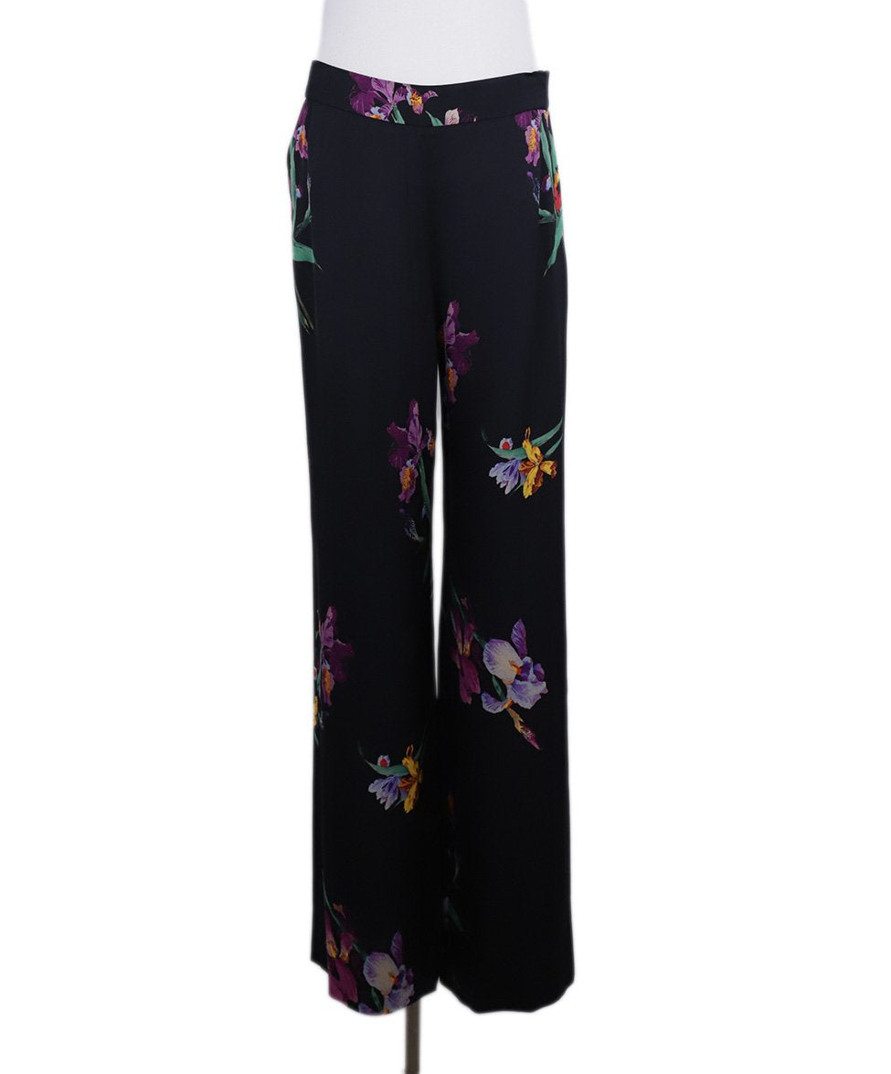 Etro Black Purple Green Floral Silk Pants 2
