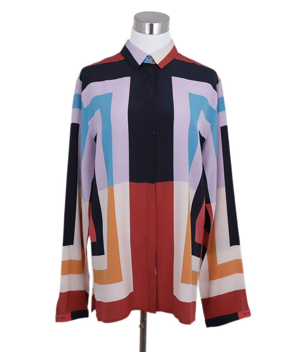 Etro Black Lavender Red Teal Silk Printed Blouse 3