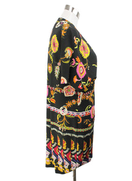 Etro Black Yellow Pink Print Viscose Elastic Dress 2