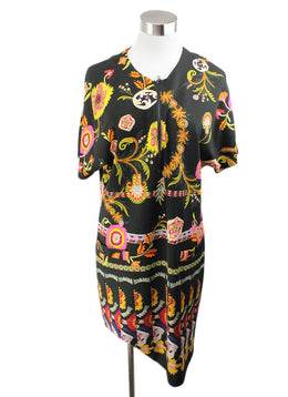 Etro Black Yellow Pink Print Viscose Elastic Dress 1
