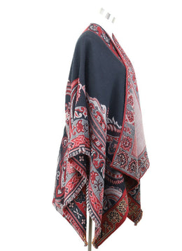 Poncho Etro Red Black Paisley Wool Outerwear 1