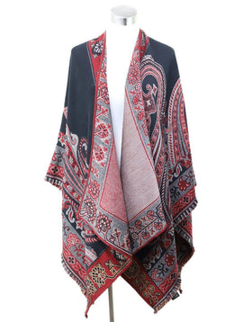 Poncho Etro Red Black Paisley Wool Outerwear