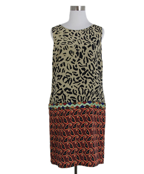 Etro Black beige print dress 1