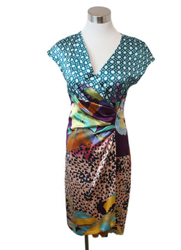 Etro Teal Peach Multi Silk Dress 1