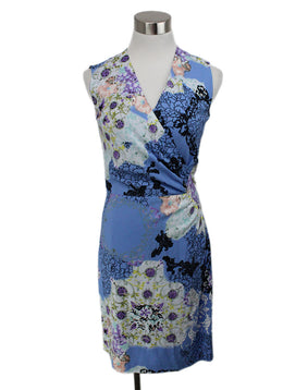 Etro Blue Mutli Floral Print Dress 1