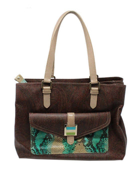 Etro Brown Paisley Leather Handbag