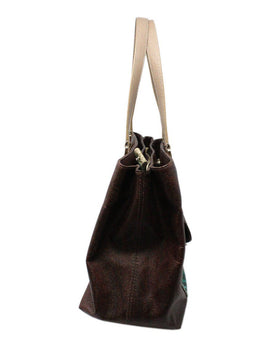 Etro Brown Paisley Leather Handbag 1
